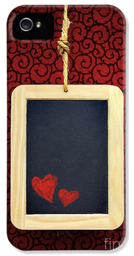 Chalkboard IPhone 5 Case featuring the photograph Hearts In Slate by Carlos Caetano