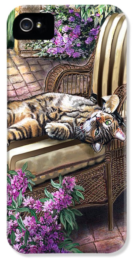 Pet Painting IPhone 5 Case featuring the painting Hello From A Kitty by Regina Femrite