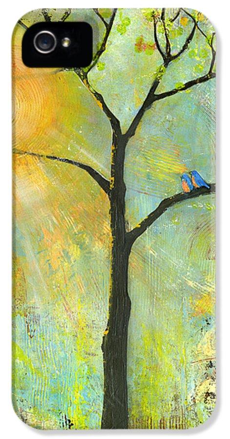 Nature IPhone 5 Case featuring the painting Hello Sunshine Tree Birds Sun Art Print by Blenda Studio