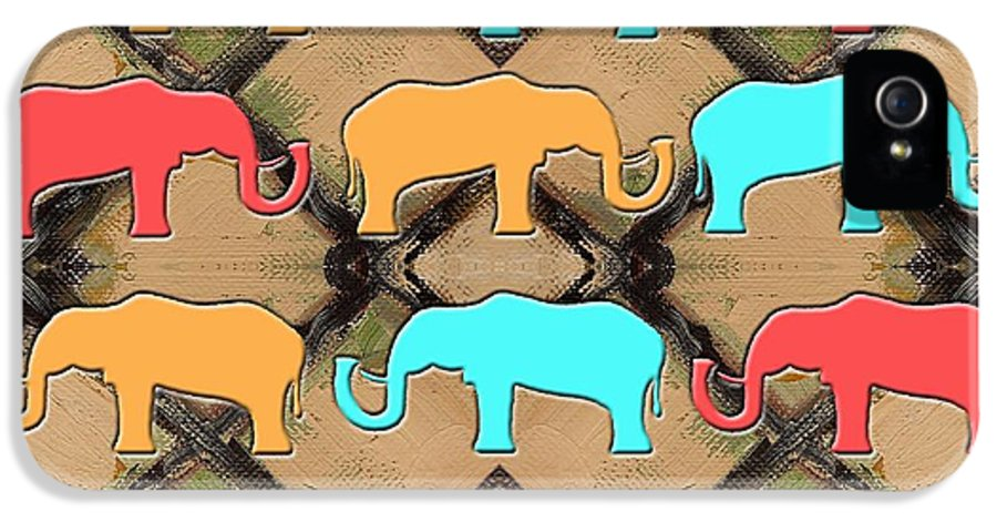 Animal Images IPhone 5 Case featuring the painting Herd Of Elephants by Patrick J Murphy