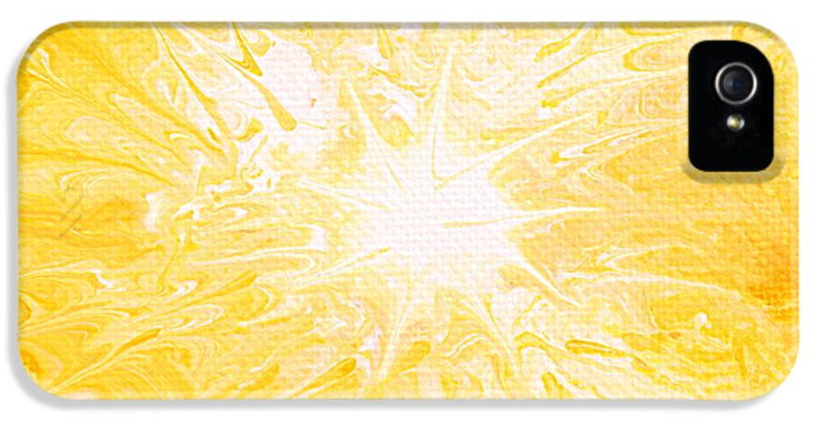 Yellow Sun IPhone 5 Case featuring the painting Here Comes The Sun by Kume Bryant