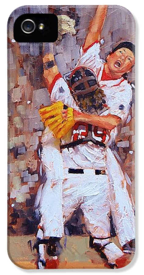 Boston Red Sox IPhone 5 Case featuring the painting Here We Come by Laura Lee Zanghetti