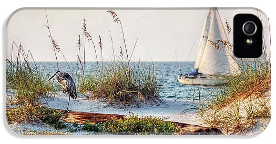 Alabama IPhone 5 Case featuring the photograph Heron And Sailboat Larger Sizes by Michael Thomas