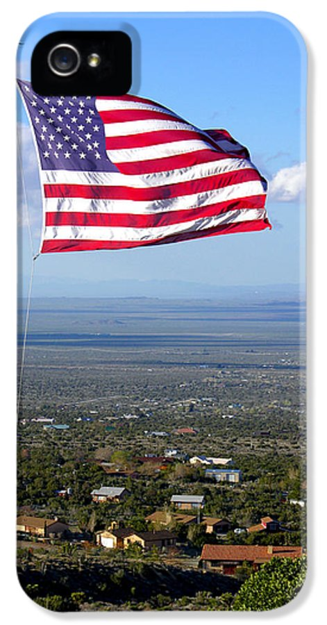 Stars And Stripes IPhone 5 Case featuring the photograph High Flyer American Flag by Sindi June Short