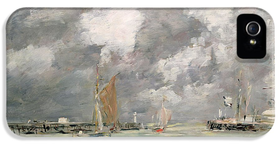 Boat IPhone 5 Case featuring the painting High Tide At Trouville by Eugene Louis Boudin