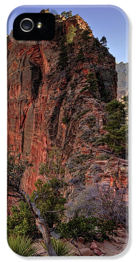 Angels Landing IPhone 5 Case featuring the photograph Hiking Angels by Chad Dutson
