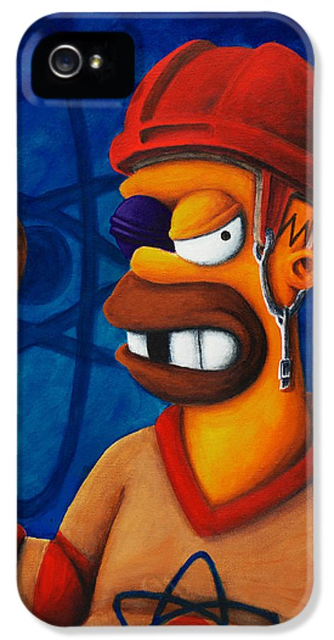 Simpsons IPhone 5 Case featuring the painting Hockey Homer by Marlon Huynh