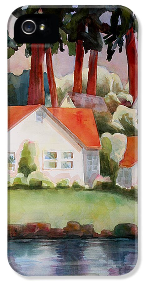 Art IPhone 5 / 5s Case featuring the painting Home By The Lake by Blenda Studio