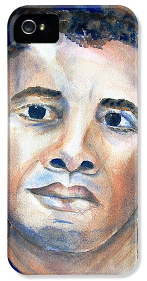 President IPhone 5 Case featuring the painting Hopeful - President-elect by Carlin Blahnik