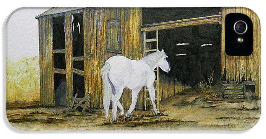 Horse IPhone 5 Case featuring the painting Horse And Barn by Bertie Edwards