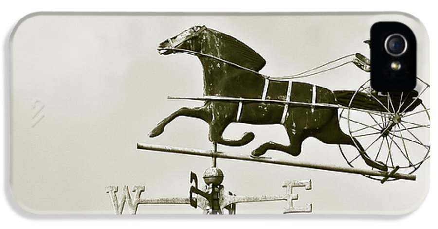 Horse IPhone 5 / 5s Case featuring the photograph Horse And Buggy Weathervane In Sepia by Ben and Raisa Gertsberg