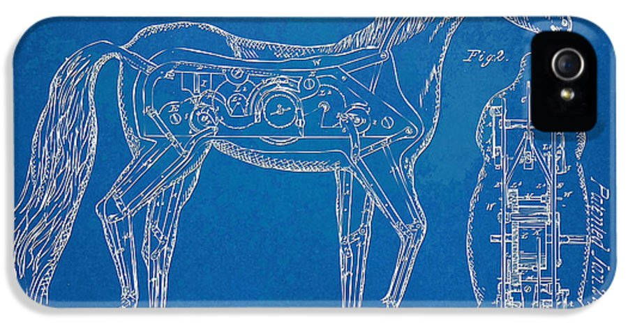Horse IPhone 5 Case featuring the drawing Horse Automatic Toy Patent Artwork 1867 by Nikki Marie Smith