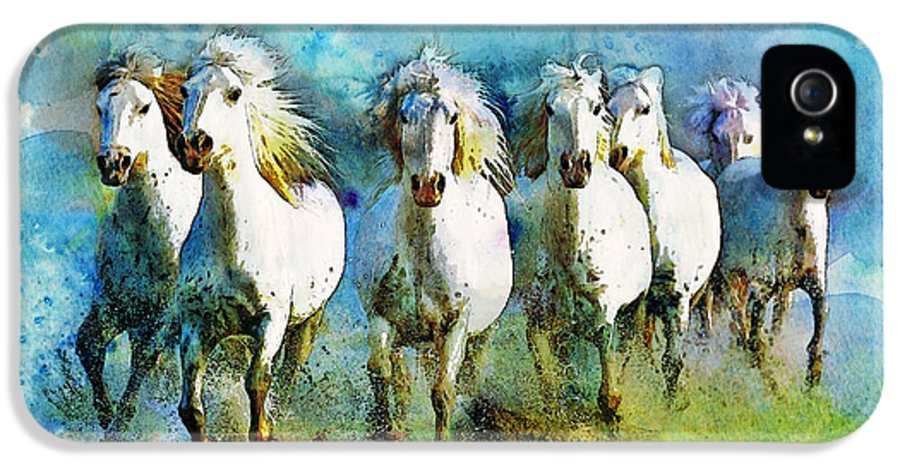Horse IPhone 5 Case featuring the painting Horse Paintings 006 by Catf