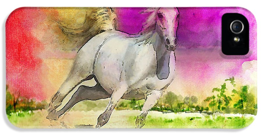 Horse IPhone 5 Case featuring the painting Horse Paintings 007 by Catf