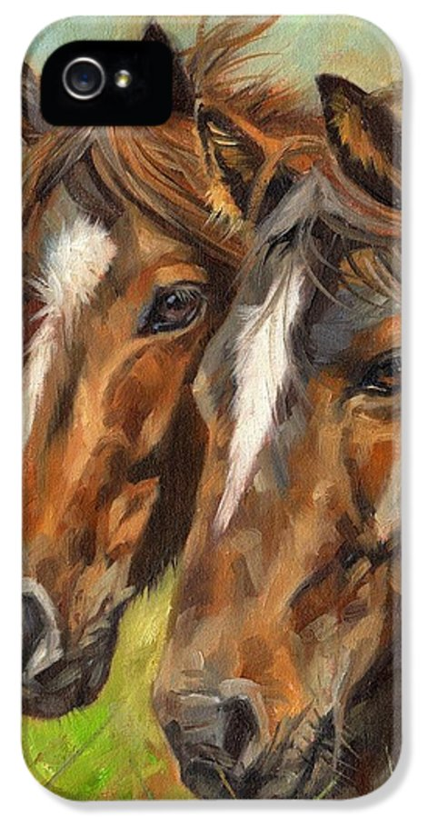 Horse IPhone 5 Case featuring the painting Horses by David Stribbling