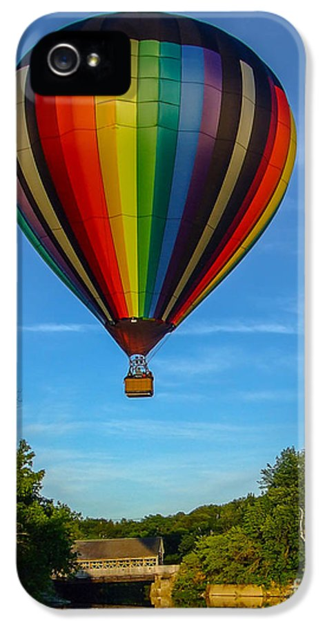 Quechee IPhone 5 Case featuring the photograph Hot Air Balloon Woodstock Vermont by Edward Fielding
