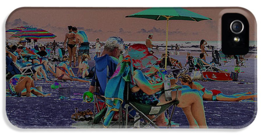 Solarized IPhone 5 Case featuring the photograph Hot Day At The Beach - Solarized by Suzanne Gaff