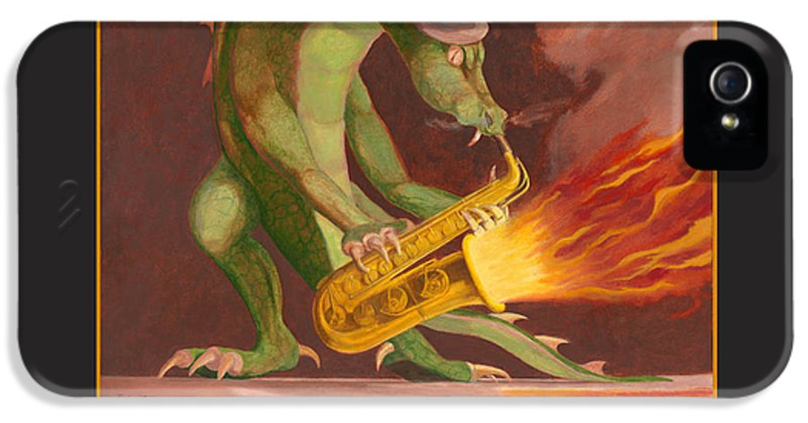 Dragons IPhone 5 Case featuring the painting Hot Sax by Leonard Filgate