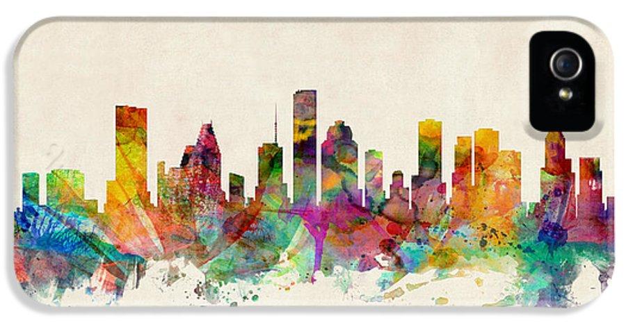 Watercolour IPhone 5 Case featuring the digital art Houston Texas Skyline by Michael Tompsett