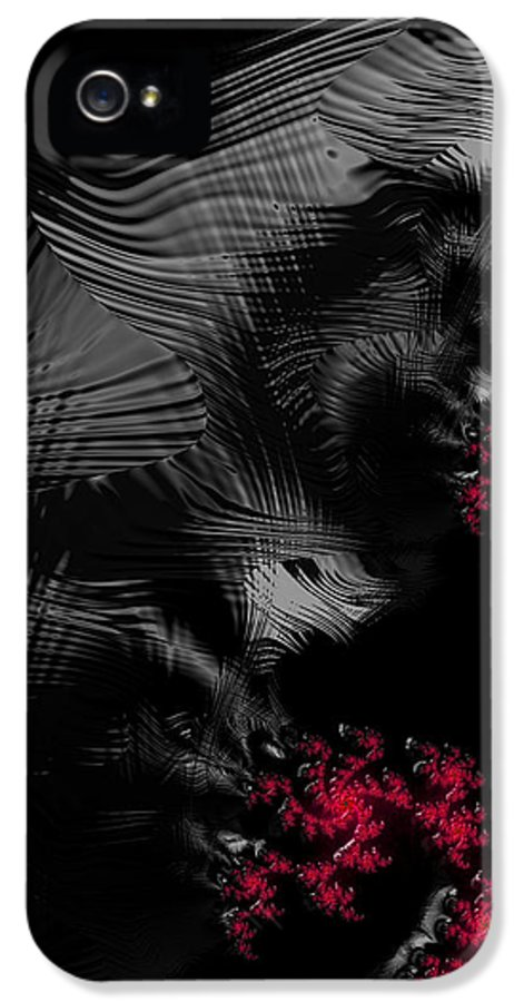 Hunger IPhone 5 Case featuring the digital art Hunger - Dark And Blood Red Fractal Art by Matthias Hauser