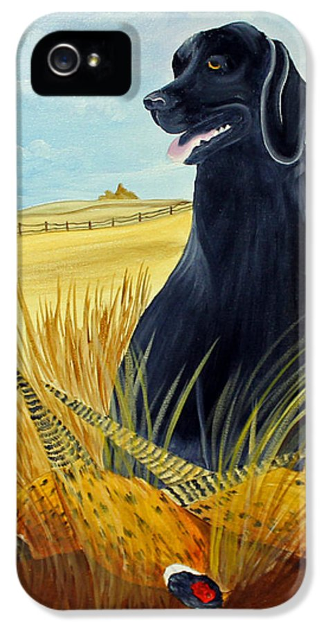 Black Lab IPhone 5 Case featuring the painting Hunting Day Over by Darlene Prowell