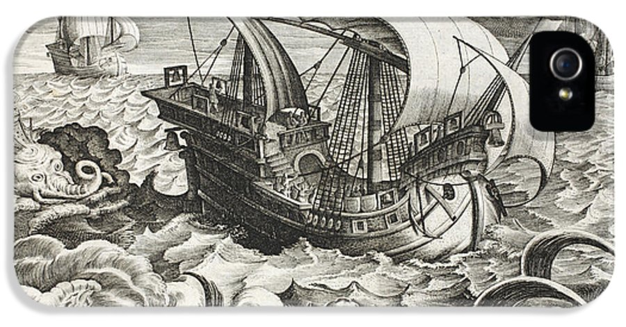 Boat IPhone 5 Case featuring the drawing Hunting Sea Creatures by Jan Van Der Straet