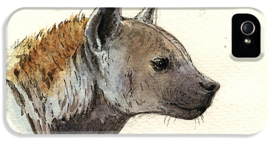 Africa IPhone 5 Case featuring the painting Hyena Head Study by Juan Bosco