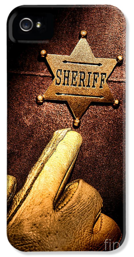 Sheriff IPhone 5 Case featuring the photograph I Am The Law by Olivier Le Queinec