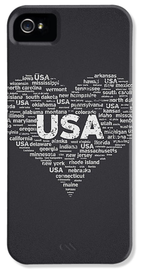 Usa IPhone 5 Case featuring the digital art I Love Usa by Aged Pixel