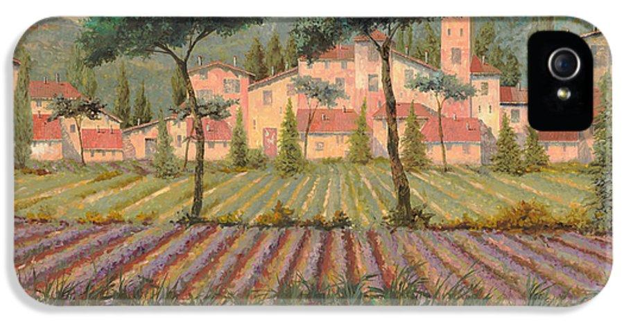 Lavender IPhone 5 Case featuring the painting Il Villaggio Tra I Campi Di Lavanda by Guido Borelli