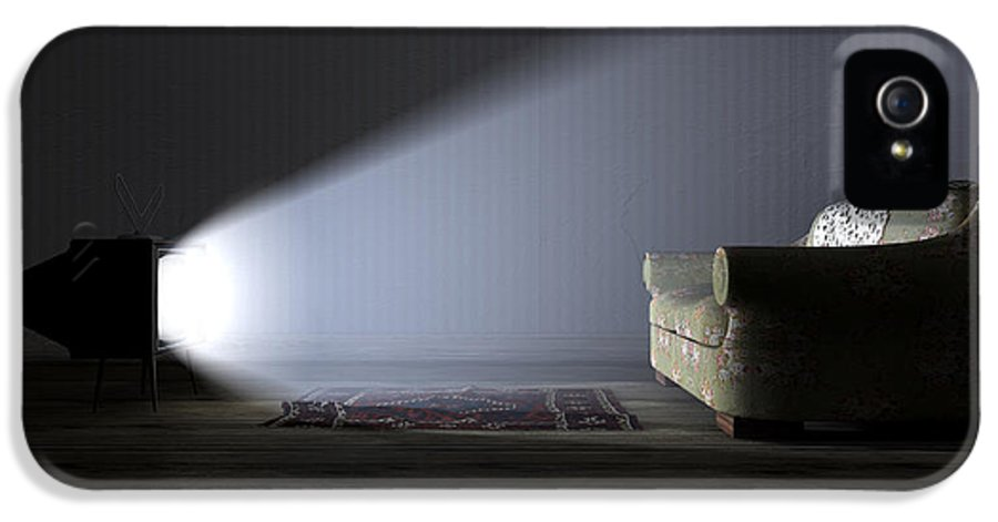 Old IPhone 5 / 5s Case featuring the digital art Illuminated Television And Lonely Old Couch by Allan Swart