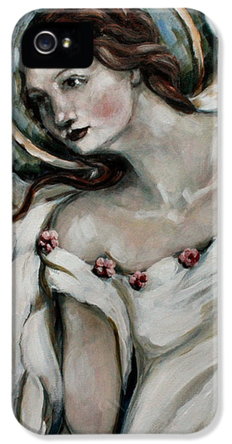 Angel IPhone 5 Case featuring the painting In Love by Carrie Joy Byrnes