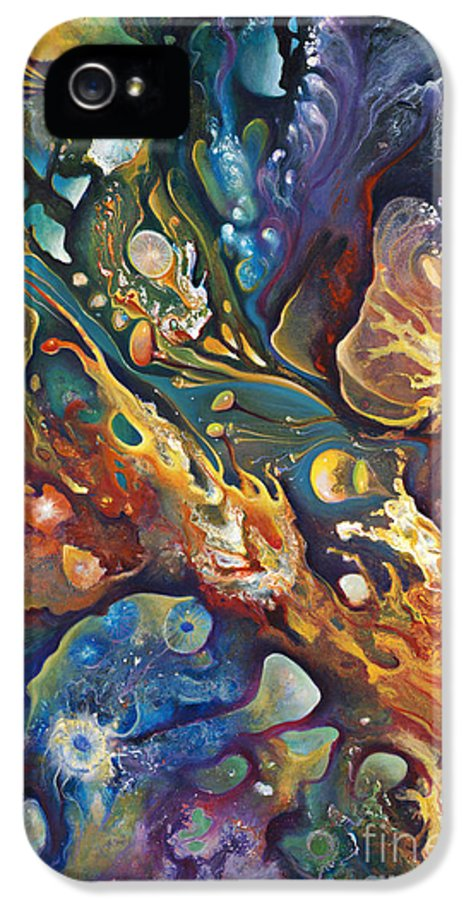 Abstract IPhone 5 Case featuring the painting In The Beginning by Ricardo Chavez-Mendez