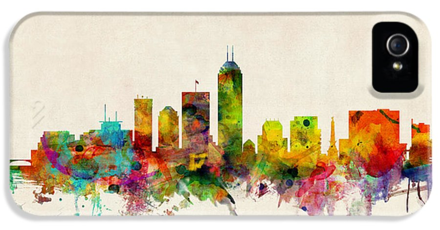 Watercolour IPhone 5 Case featuring the digital art Indianapolis Indiana Skyline by Michael Tompsett