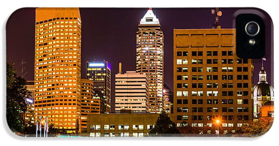 America IPhone 5 Case featuring the photograph Indianapolis Skyline At Night Picture by Paul Velgos