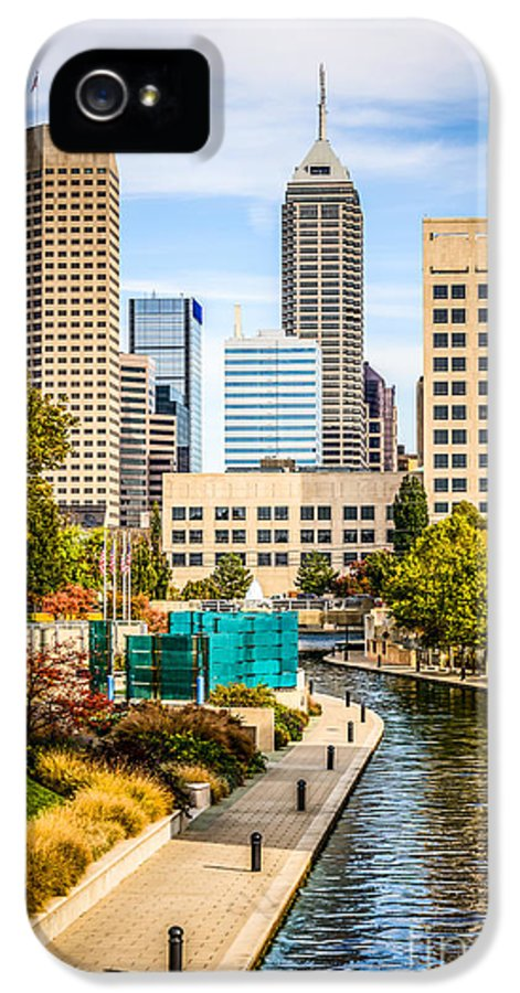 America IPhone 5 Case featuring the photograph Indianapolis Skyline Picture Of Canal Walk In Autumn by Paul Velgos
