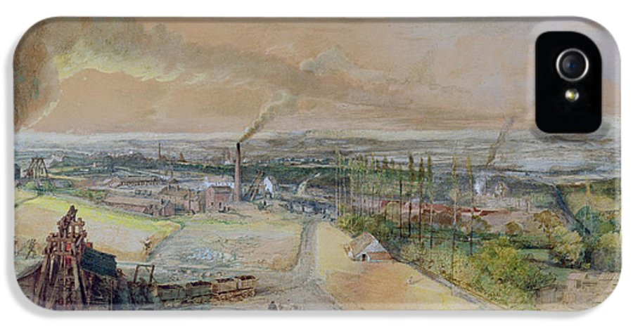 Industry IPhone 5 Case featuring the painting Industrial Landscape In The Blanzy Coal Field by Ignace Francois Bonhomme
