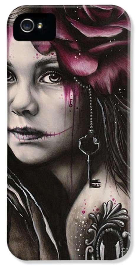 Macabre IPhone 5 Case featuring the drawing Inner Child by Sheena Pike
