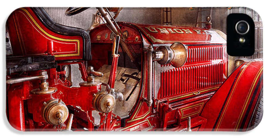Fireman IPhone 5 Case featuring the photograph Inspiration - Truck - Waiting For A Call by Mike Savad