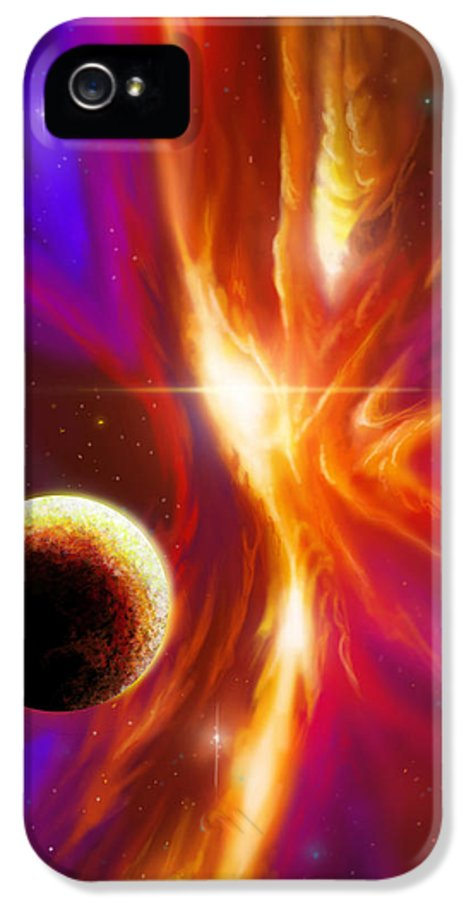 Jameshillgallery.com IPhone 5 Case featuring the painting Intersteller Supernova by James Christopher Hill