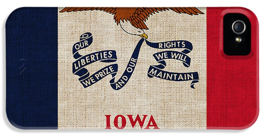 Iowa IPhone 5 Case featuring the painting Iowa State Flag by Pixel Chimp