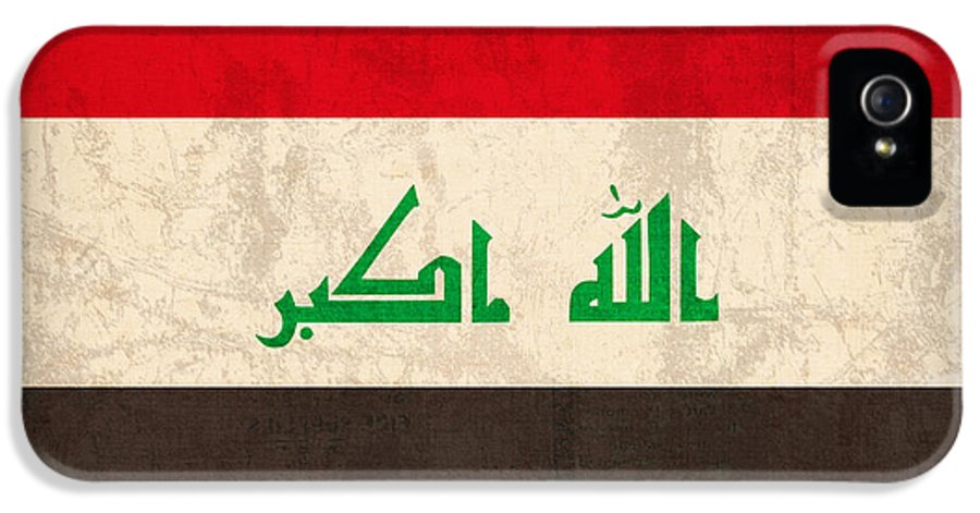 Iraq IPhone 5 Case featuring the mixed media Iraq Flag Vintage Distressed Finish by Design Turnpike