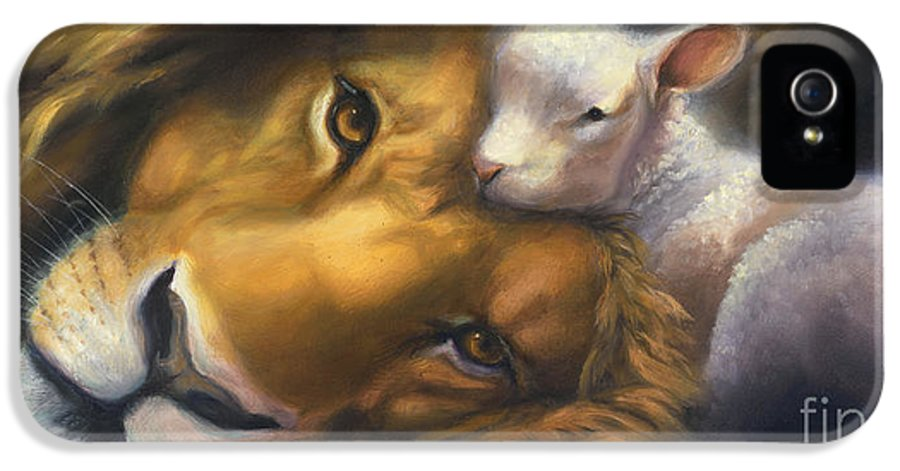 Lion And Lamb IPhone 5 Case featuring the painting Isaiah by Charice Cooper