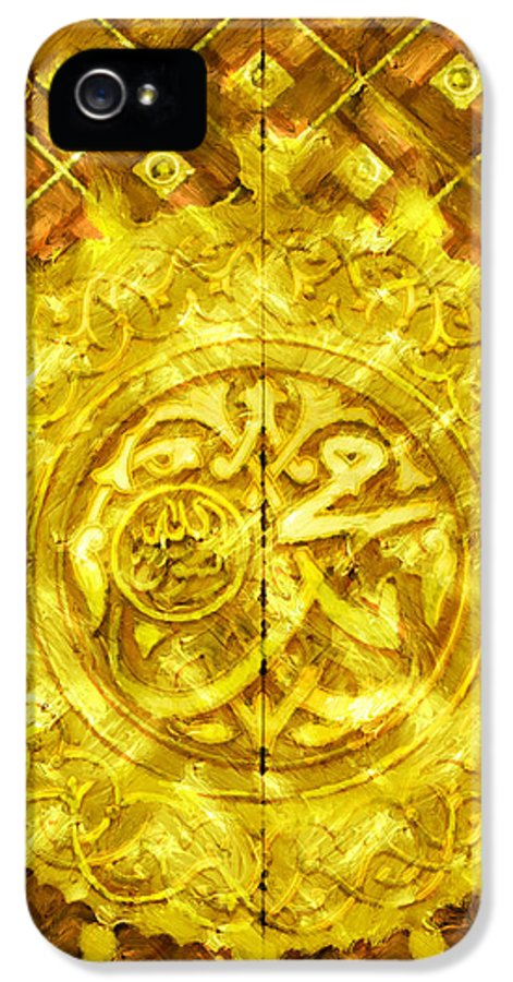 Islamic IPhone 5 Case featuring the painting Islamic Calligraphy 013 by Catf