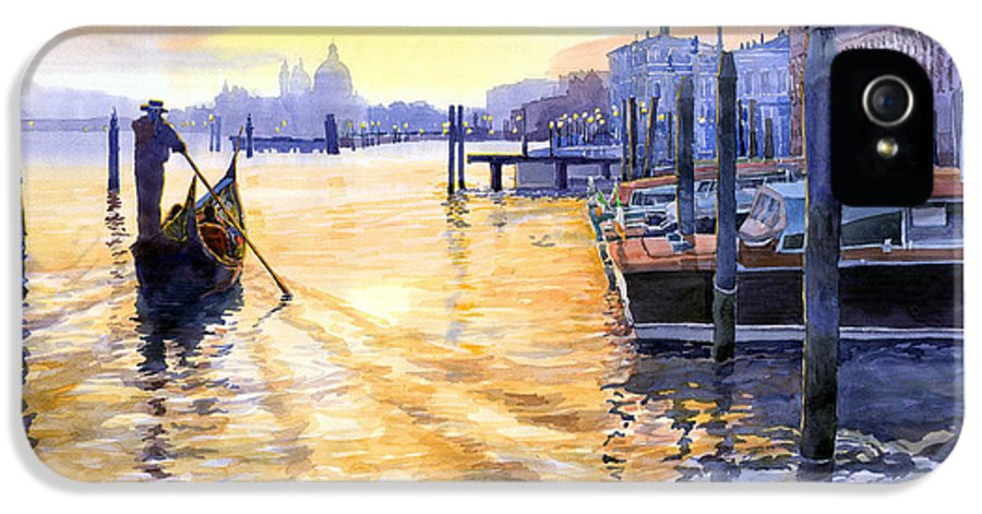 Watercolor IPhone 5 Case featuring the painting Italy Venice Dawning by Yuriy Shevchuk
