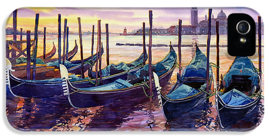 Watercolor IPhone 5 Case featuring the painting Italy Venice Early Mornings by Yuriy Shevchuk
