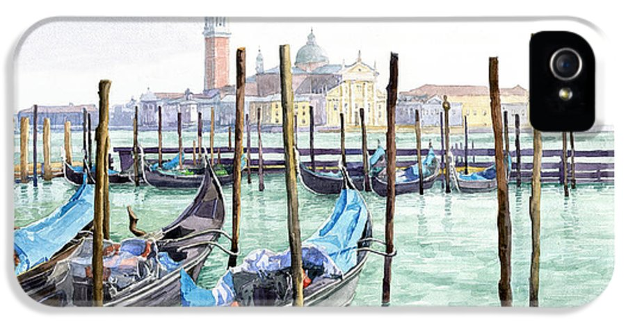 Watercolor IPhone 5 Case featuring the painting Italy Venice Gondolas Parked by Yuriy Shevchuk