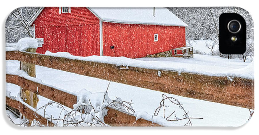 Old Red Barn IPhone 5 Case featuring the photograph It's Snowing by Bill Wakeley