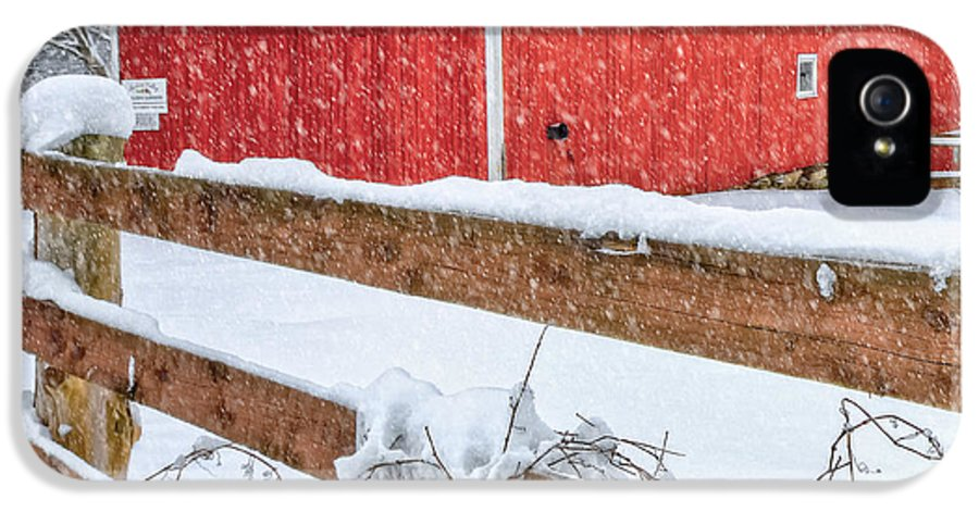 Barnyard IPhone 5 Case featuring the photograph It's Snowing Square by Bill Wakeley