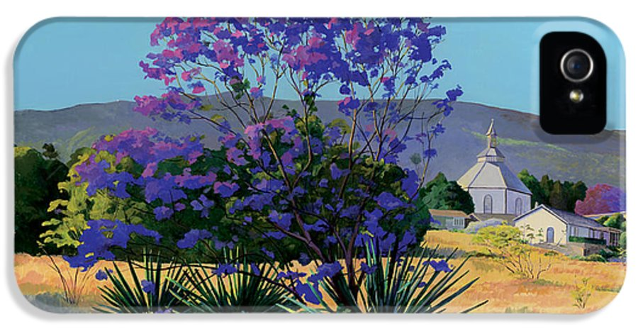 Acrylics IPhone 5 Case featuring the painting Jacaranda Holy Ghost Church In Kula Maui Hawaii by Don Jusko